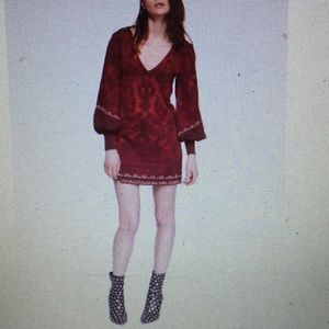 Free People red paisley long sleeve v-neck mini